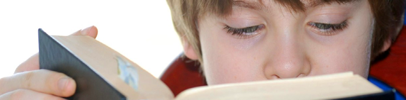 Boy reading a book